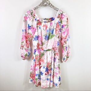 Peach Love Pink and White Floral Dress Size Medium
